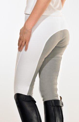 PFIFF Damen Vollbesatzhose M. Grauem Besatz, White, 38, 100319-01-38