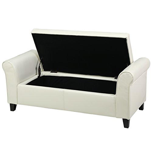 Ivory Leather Ottoman - 6