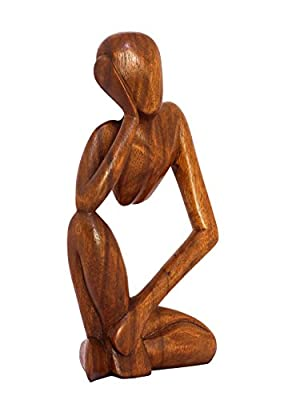 """G6 Collection 12"""" Abstract Sculpture Statue Wooden Handmade Handcrafted Art Thinking Man Home Decor"""