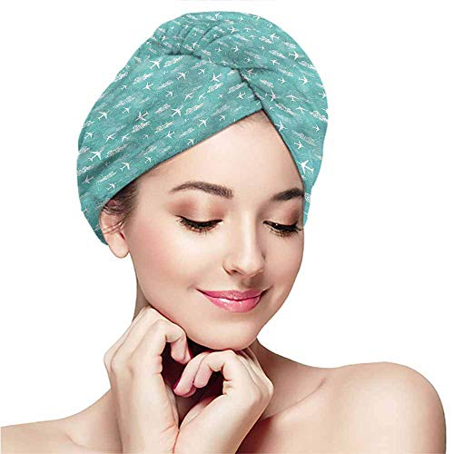 (Dry hair towel wrap towel headband dry hair cap bath towel hot spring,Airplane,Disoriented Jet Flight)