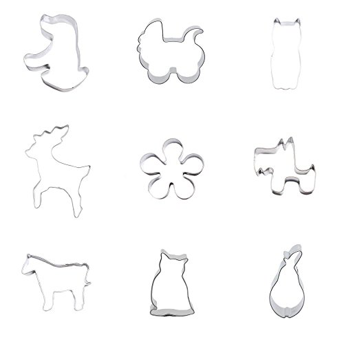 9 Pieces Cookie Cutter Biscuit Pear Owl Nighthawk Horse Pony Puppy Dog Plum Blossom Deer Stroller Baby Carriages (Stroller Toy Blossom)