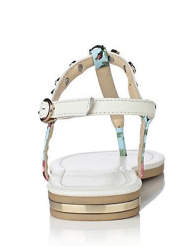 LFNLYX Zapatos de mujer-Tacón Plano-Chanclas / Mary Jane-Sandalias-Exterior / Vestido / Casual-Cuero-Azul / Blanco White