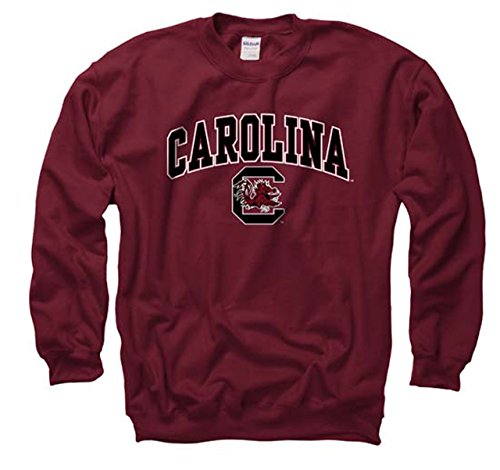 (Campus Colors South Carolina Gamecocks Adult Arch & Logo Gameday Crewneck Sweatshirt - Garnet, Medium)