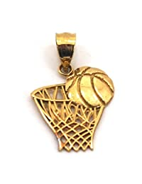 Basketball & Hoop Charm 14k Two Tone Gold 18mm