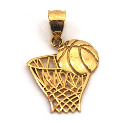 14K Gold Basketball Hoop Charm NBA Sports 18mm by FindingKing