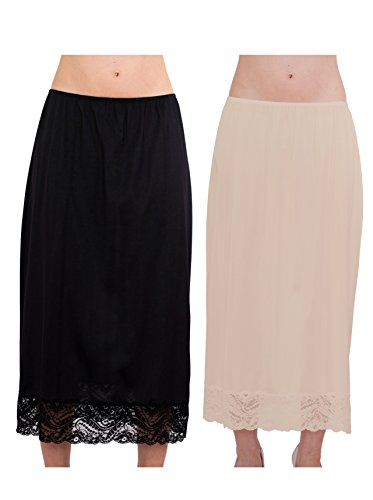"""Under Moments Maxi, Half Slip 32"""" with All Around Lace Combo Pack (BLK-NUD,L)"""