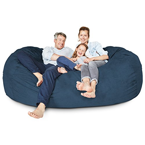 Lumaland Luxury 7-Foot Bean Bag Chair with Microsuede Cover Navy Blue, Machine Washable Big Size Sofa and Giant Lounger Furniture for Kids, Teens and Adults