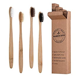 Bamboo Toothbrushes   Family 4 Pack   Eco-Friendly & Natural Organic Wooden Toothbrush  Biodegradable   BPA Free   Medium Soft Bristles Toothbrushes, Perfect eco Gifts for Home and Travel