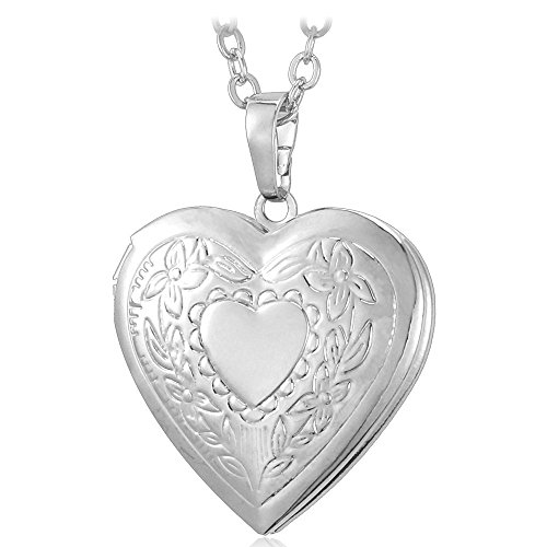 U7 Platinum Plated Charm Necklaces Heart Pendant Photo Locket (Photo Locket Necklace)