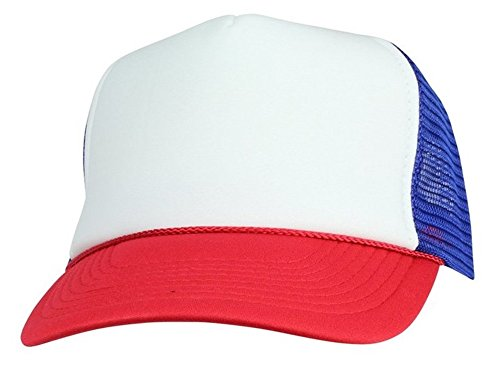 Quality Merchandise QML Trucker Cap Mesh Hat with Solid, Two Tone Colors and Adjustable Snapback Strap and Small Braid (2 Tone, White/RED/Royal Blue)