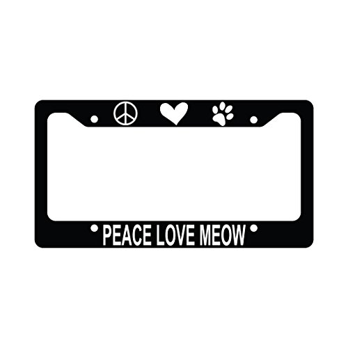 Kitty Meows (Peace Love Meow Funny Car Kitten Kitty License Plate Frame)