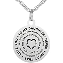 Inspirational Birthday Gift To My Daughter Never Forget That I Love You Stainless Steel Keychain Necklace