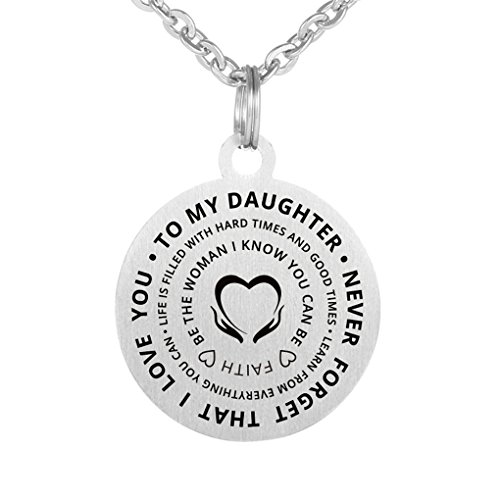(Inspirational Love Gift To My Daughter Never Forget That I Love You Stainless Steel Dog Tag Pendant Keychain)