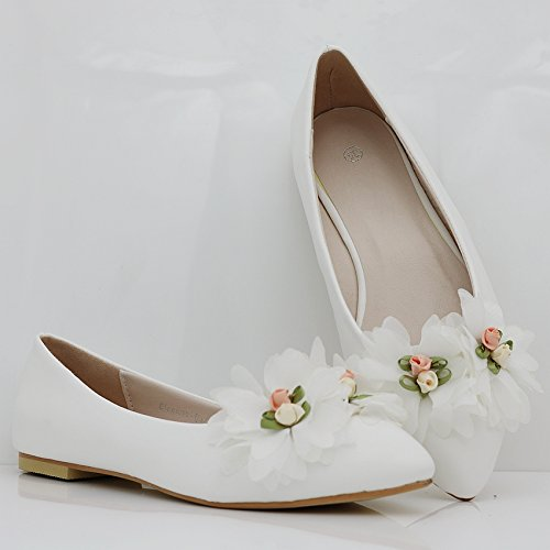 Pointed Thin Women's LEIT Rural Shoes Flat Shallow Shoes White Shoes Flat Mouth Flowers Style TdxnxUv