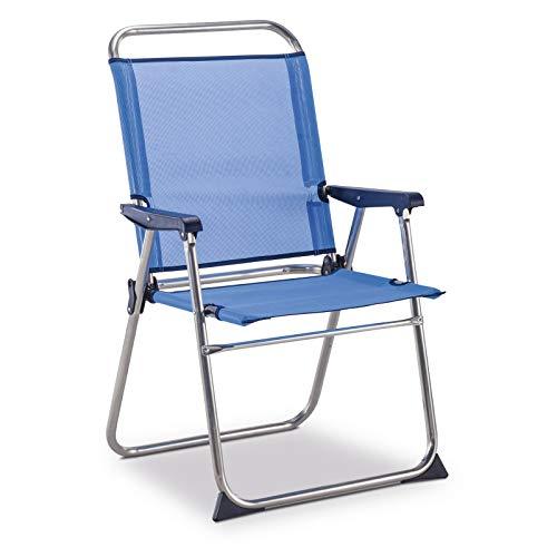 Solenny 50001072725236 - Silla Marinera Fija con Respaldo Alto Azul y Bl