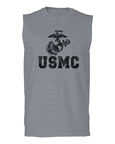 USMC Marine Corps Big Logo Black Seal United States of America USA American Men's Muscle Tank Top Sleeveless t Shirt (Light Gray Medium) (Top Tank Marine Men Corps)