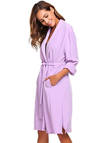 etuoji Women Waffle Dressing Down Bathing Robe for Spa Hotel Sleepwear(Light Purple,Size XL) by etuoji (Image #3)