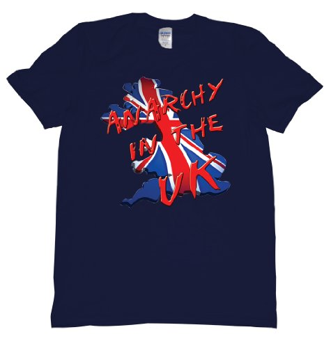 Anarchy In The UK Union Jack Flag Bev Map Tee Shirt Mens XXL navy C