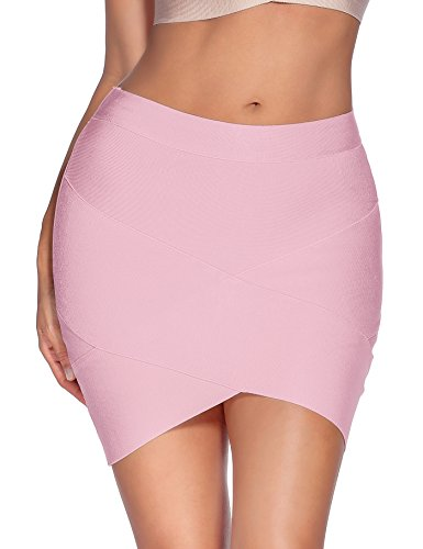 Meilun Women's Rayon Bandage Bodycon Mini Skirt (Large, Pink)