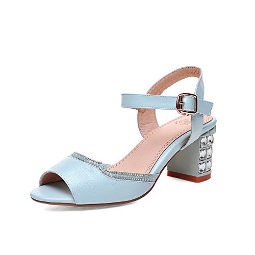 AllhqFashion Women's Buckle Kitten-Heels PU Solid Peep Toe Sandals Blue 3Wmyp