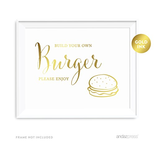 Price comparison product image Andaz Press Wedding Party Signs,  Metallic Gold Ink Print,  8.5x11-inch,  Build Your Own Burger Bar Please Enjoy Reception Dessert Table Sign,  1-Pack
