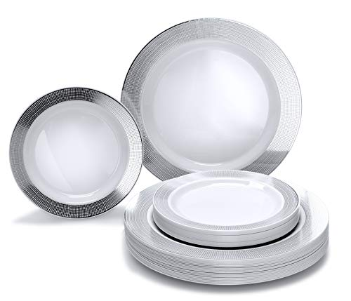 OCCASIONS 50 piece (25 guest)-Wedding Plastic Plates - Disposable Dinnerware for 25 guests - (50 piece set (25 guests), Linen White and Silver)