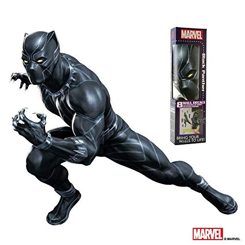 MARVEL BLACK PANTHER VINYL STICKERS – 8 Piece Augmented Reality Marvel Stickers for Kids Rooms - Kids Wall Decals For Bedroom Are Easy To Put Up On Wall and Peel Off - Best Bedroom Decor