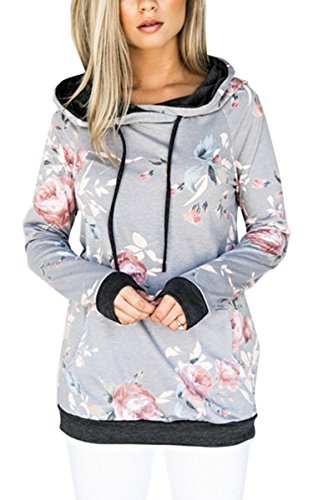 Angashion Women Hoodies-Tops- Floral Printed Long Sleeve Poc