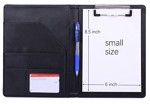 """Small Size A5 Clipboard Folder Clipboard Padfolio for Refillable Writing Pad Refill Paper 6"""" X 8.5"""", Faux Leather Clipboard with Storage with Inside Pocket, Business School Office Organizer (Black)"""