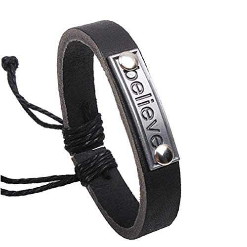 Believe Letter Leather Bracelet, Chic Rope Bangle Jewelry, for Birthday Graduation Valentine's Day Festival, for Women Men