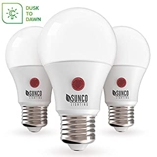Sunco Lighting 3 Pack A19 LED Bulb with Dusk-to-Dawn, 9W=60W, 800 LM, 4000K Cool White, Auto On/Off Photocell Sensor - UL