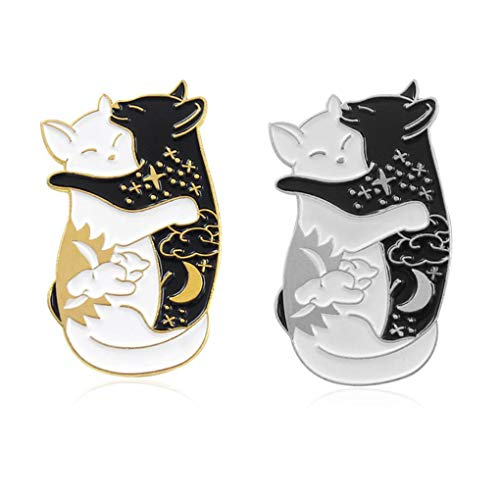 Charmart Hugging Cats Lapel Pin 2 Piece Set Black White Cat Enamel Brooch Pins Accessories Badges Gifts ()