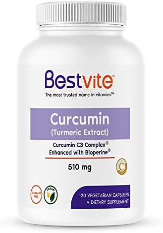 Curcumin 510mg Turmeric 120 Vegetarian Capsules with Curcumin C3 Complex Bioperine – Standardized to 95 Curcuminoids – No Stearates – No Fillers – Vegan – Non GMO – Gluten Free