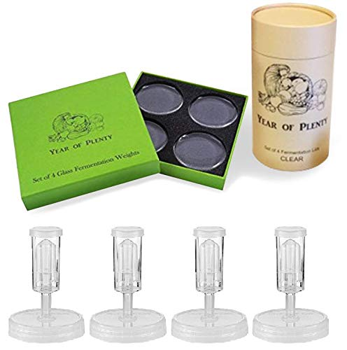Year of Plenty Fermenting Kit - Set of 4 Fermentation Weights and 4 Clear Airlock Lids for Making Sauerkraut in Wide Mouth Mason Jars (Clear - 7.1 Jar Ounce
