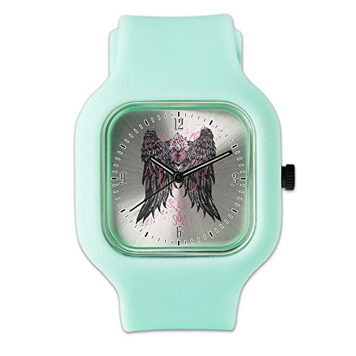SeaFoam Fashion Sport Watch Heart Locket with Wings