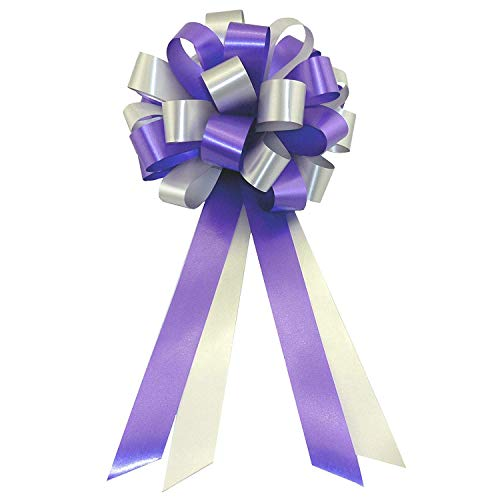 (Purple and Silver Wedding Pew Pull Bows - 8