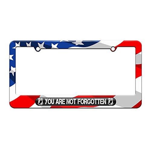 You Are Not Forgotten POW MIA - Military Vet Veteran - License Plate Tag Frame - American Flag Design