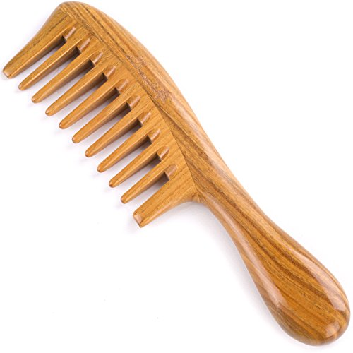 Hair Comb for Curly Hair - Breezelike Wide Tooth Wooden Detangling Comb - 8