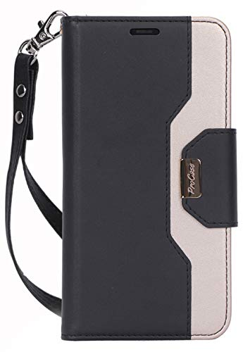 Procase iPhone 11 Wallet Case for Women, Flip Folio Kickstand PU Leather Case with Card Holder Wristlet Hand Strap, Stand Protective Cover for iPhone 11 6.1