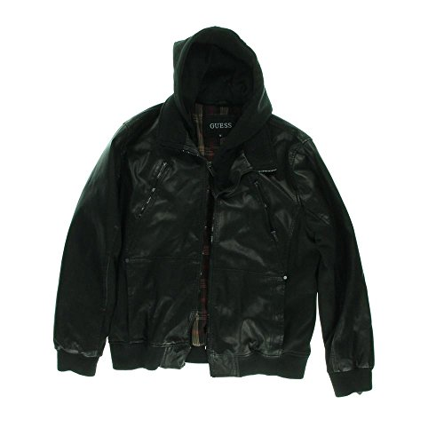 Guess Mens Faux Leather 2-In-1 Jacket Black M