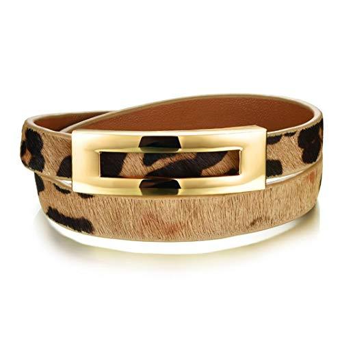 Leopard Leather Double Wrap Bracelets Belt Buckle Bangles for Women Jewelry