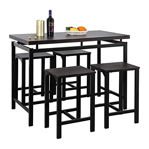 Harper&Bright Designs 5-Piece Counter Height Table Set/Dining Table with 4 Chairs (Espresso)