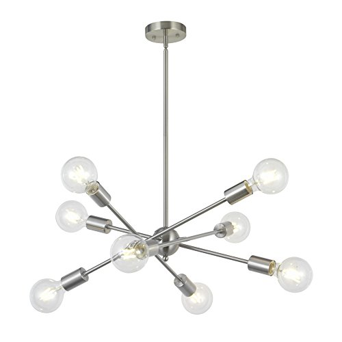 - 8 Lights Modern Sputnik Chandelier Lighting with Adjustable Arms Mid Century Pendant Light Vintage Industrial Ceiling Light Fixture Brushed Nickel by BONLICHT