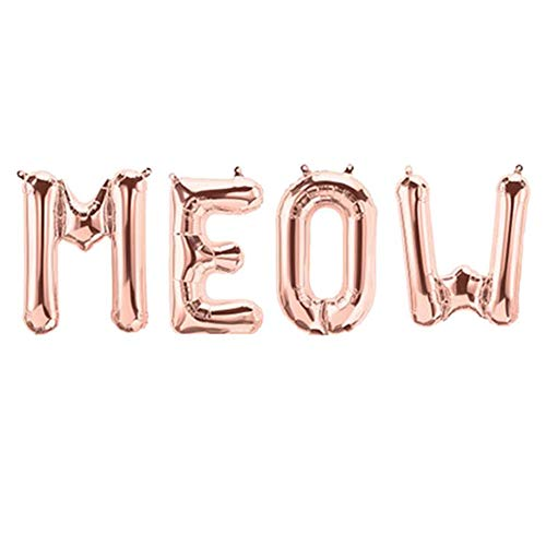 Tellpet Cat Meow Letter Balloons, Cat Birthday Party Decorations, Rose Gold