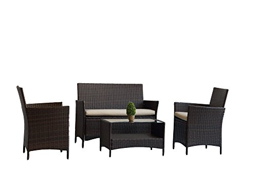 UNITED FLAME 4PCS WICKER RATTAN OUTDOOR INDOOR GARDEN PATIO CONSERVATORY BISTRO FURNITURE SET-HELSINKI SOFA SET/ONE COFFEE TABLE+ONE DOUBLE SOFA+TWO SINGLE SOFA.
