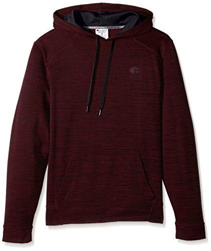 Champion Men's Premium Performance Fleece Pullover Hoodie, Bordeaux Red Heather/Black, Large (Bordeaux Clothing)