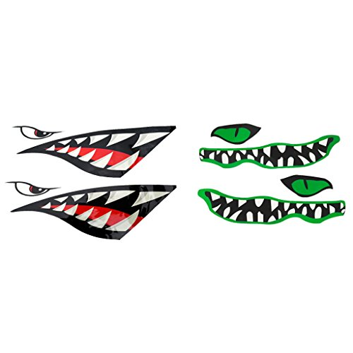 Price comparison product image MonkeyJack 1 Pair Shark + 1 Pair River Monster Teeth Mouth Waterproof Graphics Vinyl Decal Stickers for Kayak Canoe Small Fishing Boat