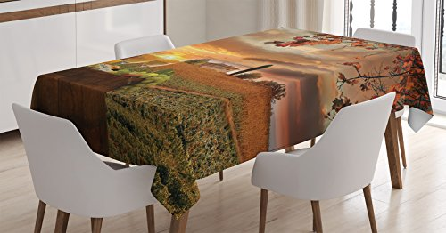 Tuscany Italy Landscape - Ambesonne Winery Decor Tablecloth by, White Wine with Barrel on Vineyard at Sunset in Chianti, Tuscany, Italy Landscape, Dining Room Kitchen Rectangular Table Cover, 60 X 84 Inches