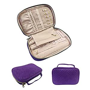 Gold Fortune Travel Jewelry Storage Cases Carrying Organizer Bag for Women Necklace Earrings Rings Bracelet Brooches Purple JSB-PU
