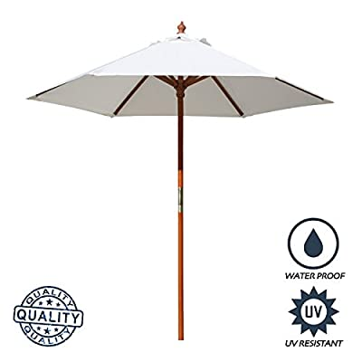 "Above All Advertising, Inc. 7 ft Round Wood Market Umbrella Outdoor Patio Garden Table Umbrella, White - Pole Height : 86"" (7.16 Feet), Canopy Diameter: 84"", Rib Size: 42"", Rib to Rib Spacing Size: 39"", Pole Color: Brown, Opening System: Pulley Pole 6 Umbrella Panels with the total length of 39"" rib to rib when set-up Round Umbrella with extra crown wind vent, which allows gusts of wind to escape - shades-parasols, patio-furniture, patio - 41xntJvz79L. SS400  -"